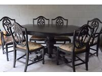 Elegant Solid Wood Ornate Dining Table with 6 Chairs Metallic Black