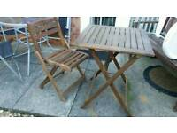Solid Wooden Garden Table & Chair