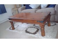 Rustic solid wood coffee table with metal studs - DELIVERY AVAILABLE