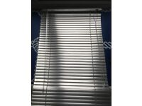 Window blinds for sale. Silver aluminium finish Venetian blinds. Includes brackets and screws.
