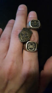 Sterling silver Ontario Police college Rings, and service  pin