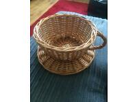 Novelty Wicker Tea Cup and Saucer