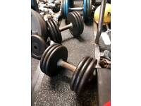 30kg Pro-style iron dumbbells - weights, gym