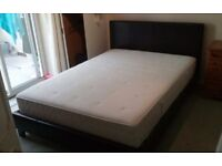 BROWN FAUX LEATHER DOUBLE BED AND MATTRESS