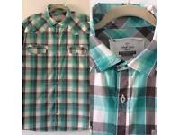 Men's NEXT Short Sleeved Checked Shirt Size 2XL Mint Green Grey White