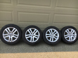 VW Alloy Rims & Tires from a 2011 Golf