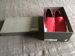 Red suede loafer shoes