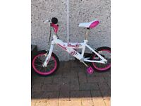 "Girls Avigo 14"" bike with stabilisers"