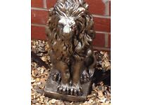 Gorgeous pair of solid bronze effect lions