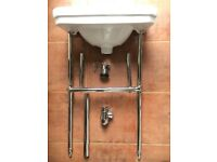 Brand New Savoy Edwardian Cloakroom Basin, Plug, Stand, Bottle Trap
