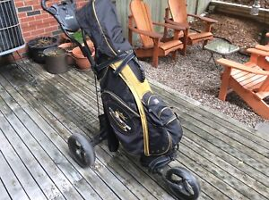 Callaway Steelhead irons, Cobra bag, BagBoy pull cart