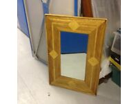 SOLID WOOD MIRROR WITH STONE INSERTS SET IN WOOD VGC