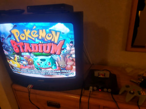 N64 with hookups a controller and game