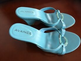 Avance turquoise leather wedge mules, size 5