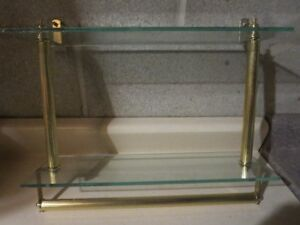 """2 tier tempered glass vanity wall shelf (16"""" length, 5"""" wide)"""