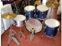 7 piece Drum kit with additional hardware and hats/cymbals