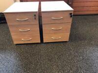 3 Draw Drawers, Mobile, Lockable, Light Oak