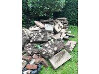 *Free* large paving slabs, kerb edge stones, block pavers, border stones and bricks