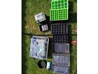 22W heated propogator taking 2 standard seed trays. Additional seed trays, sieve etc