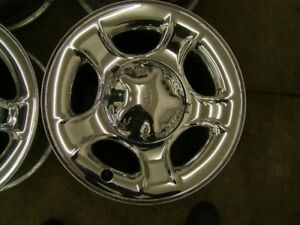 "4-17"" 5X135MM FORD TRUCK FACTORY CHROME CLAD RIMS, CENTRES INCL."