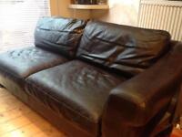 Dark Brown Leather Sofa - Excellent condition