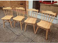 Solid pine set of farmhouse chairs vgc