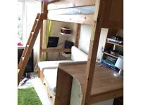 Solid pine high sleeper with under bed and desk UB70DJ