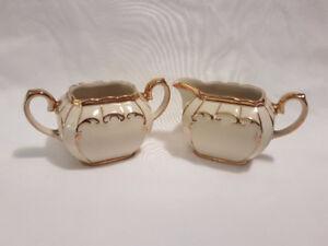 Vintage Sadler England Cream & Sugar Gold Trimmed Set 1922