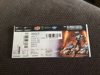 2 tickets for speedway Grand Prix at Cardiff upper tier block 30 row 21