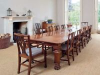 Antique Table & Chairs Victorian Mahogany 14 ft Dining Table & 12 Chippendale Chairs - FREE Delivery