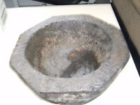 Black bowl /mortar (without pestle!) . Very heavy - 35 pounds.