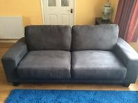 3 seater and 2 seater sofas dark grey