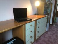 Desk and four drawer chest