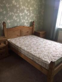 Wooden Double Bed with Two Side Tables