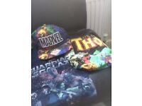 Marvel merch (hat and shirts)