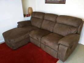 3 seater sofa with chaise and full recliner