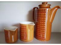 Retro 1970's Hornsea Saffron Coffee Pot and 2 jugs. Very Orla Kiely!