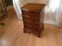 4 drawer Reproduction Yew wood bedside cabinet
