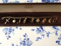 Gorgeous 9ct Gold Double Link Charm Bracelet With 9 Vintage Charms 14.7g