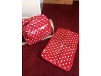 Red dotty waterproof changing bag