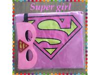 Kids children's super girl cape and mask set! Fancy dress brand new Halloween school party