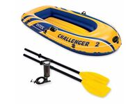 Intex Challenger 2 Inflatable boat. Boxed with all accessories and pro lightweight life jacket