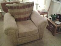 Double sofa bed and cushions with easy Chair. Both items used but in good condition.