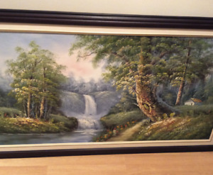 Hand Painted Waterfall Scenery (Framed)