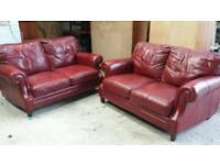 Red leather Settee x 2