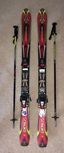 Rossignol 120 downhill skis with bindings and poles