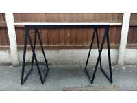 Trestle style Desk, white top, black legs