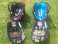 2 x Cybex Ayton Q car seats with isofix bases