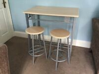 Kitchen Table and Two Matching Stools L35.5in/90cm W23.5in/88cm H34in/88cm