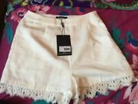 Size 10 Misguided lace hem high waist shorts